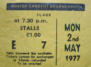 slade ticket stub 1978 hammersmith odeon 1978