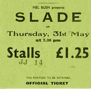 SLADE glasgow ticket stub
